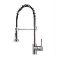 Brushed níquel acabamento cozinha pia faucet pull sprayer plataforma mount mola mixer torneira giratória giratória água maravião bwf10237