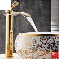 Basinhahn Gold und weißer Wasserfall Messing Badezimmer Mischbatterie Kalt Waschbecken Armaturen