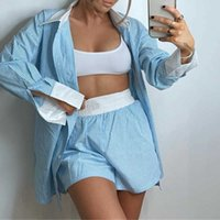 Blue Spliced Striped Women's Blouse Suit Elastic Waist Shorts Shirts Office Lady Spring Fashion Single Breasted Shirt 2 Pcs Sets X0612