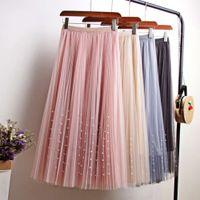 Spring Summer Skirts Womens Beading Mesh Tulle Women Elastic High Waist a Line Mid Calf Midi Long Pleated