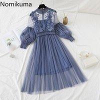 Nomikuma 레이스 패치 워크 우아한 드레스 여성 두 조각 봄 슬림 허리 긴 소매 라인 드레스가 robe 210514를 통해 봅니다