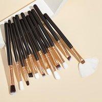 Makeup Brushes Saiantth 12pcs Eye Set Eyeshadow Brush Small Fan Shape Beauty Tools Long Wood Aluminum Eyebrow Eyeliner Cosmetic