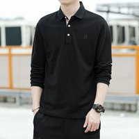 FactoryZK1D Polo Shirt autumn and winter new middle Men's aged solid color business leisure long sleeve t-shirt cotton com