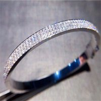 Pave Lab Diamond Bangle 925 Sterling Silver Party Engagement bangles Bracelets for women Bridal Charm wedding accessaries