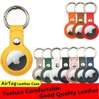 2021 Кожаный корпус Airtag Loop Case Защитная оболочка с ключевым кольцом для Apple Airtags Smart Bluetooth Беспроводной трекер Anti-Toy