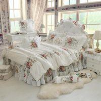 Dimensione personalizzata Chic Shabby Floral White Bianco Principessa Ruffles Cover Duvet Bedskirt Set Girls 100% Cotton Biancheria da letto morbida Set da letto morbido 4/8 / 9pcs