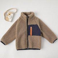 Down Coat 2021 Spring And Autumn Boys' Polar Fleece Jacket Boys Girls Baby Zipper Big Pockets Stand-up Collar