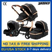 Lüks Arabası Bebek 3 1 Lüks Taşınabilir Taşıma Alüminyum Çerçeve Kauçuk Tekerlek PU Deri Yüksek Manzara Doğan