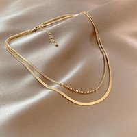 Chains Fashion Unisex Layered Flat Snake Necklace Choker Chain For Women Dainty Jewelry Wholesale Designer Gold Color Hip Hop