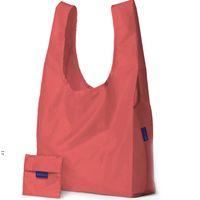 에코 친화적 인 저장 핸드백 접이식 사용 가능한 쇼핑 가방 재사용 가능한 휴대용 식료품 점 나일론 대형 가방 순수한 색상 OWE8568