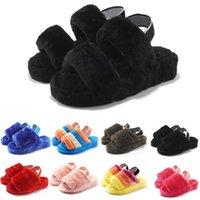 Femmes australiennes pantoufles enfants glissière moelleuse Furry noir gris noir cuir classique sandales hiver solide couleur maison chaussures à plat intérieur 36-43