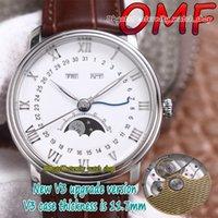 Eternity Watches OMF V3 Última versión de actualización Versión Villeret Calendario 6654A-1127-55B CAL.6654 OM6564 Reloj automático para hombre Caja de acero Verdadero Moon Fase Dial Cuero marrón