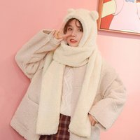 Scarves Adorable Bear Ear Scarf Winter Hat Hoodie Cap Thickened Warm Plush Clothing Accessories