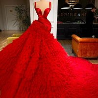 Luxury Red Mermaid Evening Dresses Tiered Ruffles Spaghetti Straps Illusion Prom Gowns Women Red Carpet Celebrity Dress