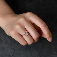 Korean Ginkgo Leaf Modeling Opening Rings Women Single Crystal Finger Ring Copper Party Gift Fashion Leaves Jewelry Accessories Wholesale
