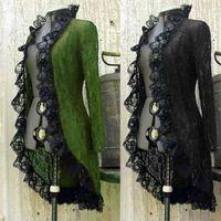 Vintage Mujeres Steampunk Victorian Victorian Soporte de collar de collar de encaje vestido medieval Vestido medieval Cardigan Vestidos casuales