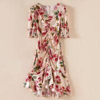 100% Natural Silk Women's Dress V Neck Short Sleeves Floral Printed Beaded Ruffles Picked Up Elegant Fashion Dresses Vestidos