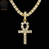 Ankh Silver Mens Women Hip Hop Iced Out Gold Rhinestone Key Of Life Egypt Cross Pendant Tennis Chain Crystal Necklace VP929 Chains