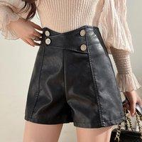 Женские шорты Ailegogo Streetwear Женская высокая талия мото Biker PU искусственная кожа черные осенние женщины свободные прямые кнопки