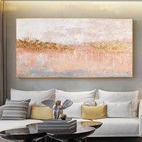 Картины розовые текстурированные 100% ручная роспись современная абстрактная живопись маслом на холсте настенное искусство для гостиной дома украшения не оформлены