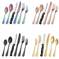 24pcs set Matte Black Silverware Set With Steak Knives Stainless Steel Flatware Cutlery kits Service For 4pcs Hand Wash Recommended 6pcs Set Knife Fork Spoon HH21-208