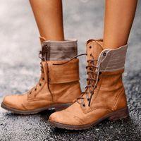 Кружевные сексуальные дамы пинетки весна осень женские квадратные каблуки Рим Среднее труба оружия ботинки рыцарь ботинки Браун плюс размер 43 H9oe #