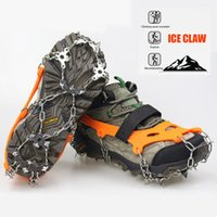 wholesale Steels Teeth Crampons Ice Gripper Snow Climbing Anti Skid Winter Shoes Cover Boots Spikes Grips Cleats Outdoor Accessories 50 pair
