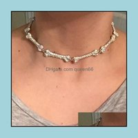 & Pendants Jewelry2021 Summer Design Hip Hop Bone Pendant Necklaces With Clear Cz Paved Women Mens Fashion Gothic Punk Party Choker Jewelry
