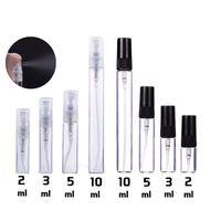 2ml 3 ml 5 ml 10 ml Plastikowa / Szklana Mgła Spray Perfumy Butelka Mały Parent Atomizer Refillable Próbki Fiolki Do Oleje Etykietowych Podróż Przenośne Narzędzia Do Makijażu