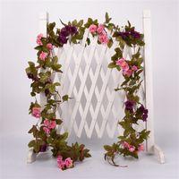 2.2M искусственный цветок лозы поддельных шелковые роза плющ цветок для свадебных украшений искусственные лозы висит гирлянда домашнее декор 423 v2