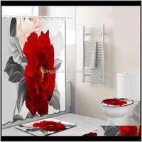 التبعي 4 قطع الأنيقة الزهور نمط دش المرحاض غطاء حصيرة nonslip البساط مجموعة الحمام للماء حمام الستار مع 12 السنانير 49W1D 2H4O9