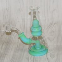 Glow in the dark silicone bong smoking water pipe hookahs bongs dab rigs tobacco pipes with quartz banger Glass Reclaim Catcher