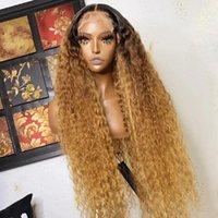 Sin glúneles 13x6 Ombre Rubio Rizado Frente transparente Frente de encaje Peluca de cabello humano con bebé Seda Top Completo Blanqueado Nudo Remy 180% Pelucas