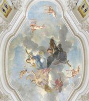جدارية سقف النمط الأوروبي ملاك زينيث جدارية جدارية 3d خلفيات 3d ورق الحائط للتلفزيون خلفية 1453 v2