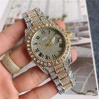 Reloj Mujer Moda Marca Papel Completo Diamante Relógio Homens Mulheres Dial Romano Senhoras Dress Luxury Designer Womens Watches Pulseira Rose Gold Clock