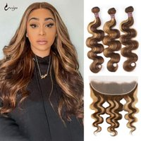 Human Hair Bulks 4 27 Highlight Body Wave Bundles With Frontal Colored Ombre Closure Peruvian