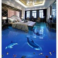 Floor wallpaper 3d for bathrooms PVC waterproof floor Custom Photo self-adhesive 3D floor dolphin 3d wallpapers
