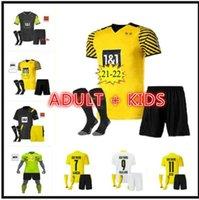 Adulto Kids Kit 1990 Edição Limitada Borússia 4th Jersey Dortmund 2021 2022 Haaland Reus Set 20 21 22 Bellingham Sancho Hummels Brandt Futebol Shirts Uniformes