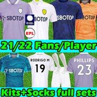 21/22 Leeds Futebol Jerseys Fãs Unidos VERSÃO 2021 2022 T Roberts Harrison Hernandez Costa Bamford Alioski Clarke Homens Kits Kits Kits Meias Completamente Conjuntos Futebol Camisa