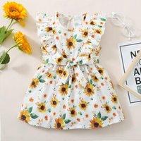 Girl's Dresses Toddler Infant Kids Girls Dress Summer Sleeveless Sleeve Ruffle Flower Sunflower Printing Belt Princess 12m-5y