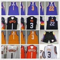 2021 Finales Valley Bound City 1 Devin 3 Chris Booker Paul Basketball Jerseys Asociación Blanca Deandre 22 Ayton Jersey Orange Purple Black Hombre Shorts cosido