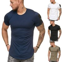 T Shirt 2019 Euro New Camiseta Hombro de Hombro Hombre Bolsillo Empalme Gran Manga Casual Casual