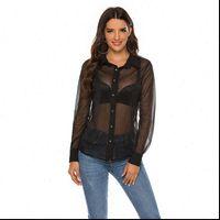 Black Mesh Sexy Tops Summer Women Shirt Girls Night Club Wear Top See Through Shirts Button Up