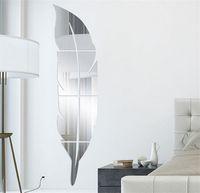 3D Federspiegel Wandaufkleber Raum Aufkleber Wandbild Kunst Dekoration DIY 73 * 18 cm 505 v2