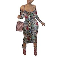 Bodycon Drop Clothes For Women Slash Neck Long Sleeve Dress Snake Skin Print Party Night Club Sexy Casual Dresses Fall