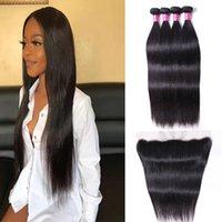 Grade A Brazilian Virgin Human Weave 4 Bundles with Lace Frontal 13x4 ear to ear Malaysian Peruvian Indian Straight Remy Hair Extensions