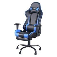 Cadeira de mobília de competição eletrônica Cadeira de internet Office de jogo de Internet pode ser girado com descanso de pé preto e azul móveis domésticos