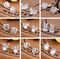 creative ear studs fashion snowflake beer crystal rhinestone pearl stud Jewelry earrings