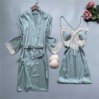 V-Neck Lace Bridal Wedding Robe Gown Sets Two Pieces Sleepwear Kimino Bathrobe Home Dressing Satin Bridesmaid Lingerie Nightwear Y1006