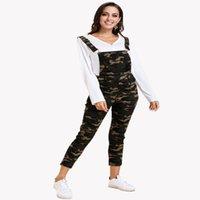 Vestidos dobro casual do casual das mulheres com calças de cintura para bolso cinta de camuflagem romper